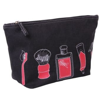 black gents toiletry bag red print