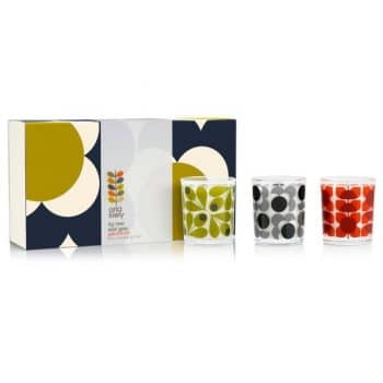 orla kiely olive shadow flower candle set