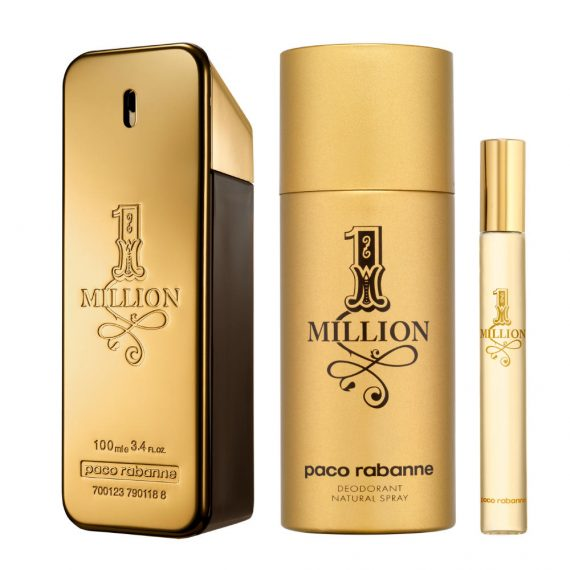 Paco Rabanne 1 Million 100ml Gift Set (plus 150ml Deodorant Natural Spray & 10ml Travel Size) 1