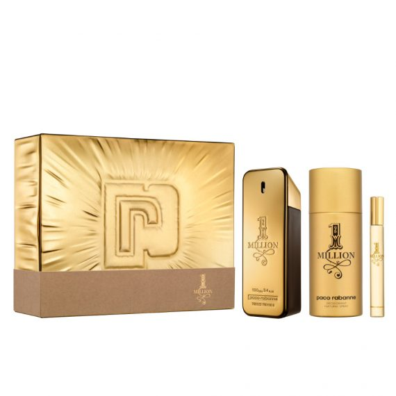 Paco Rabanne 1 Million 100ml Gift Set (plus 150ml Deodorant Natural Spray & 10ml Travel Size) 3