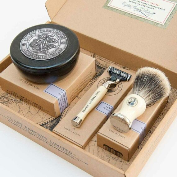 Captain Fawcett Shaving Brush, Razor & Shaving Soap Gift Set