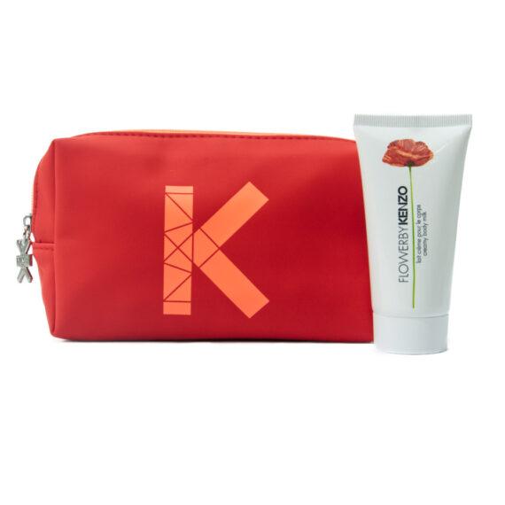 Kenzo Happy Kit Pouch & Flower By Kenzo 50ml Creamy Body Milk Free Gift